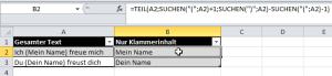 Excel Klammer auslesen